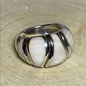 Pink Shell and Sterling Ring